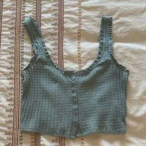 Urban Outfitters Sz S Teal/Green Cropped Tank Top